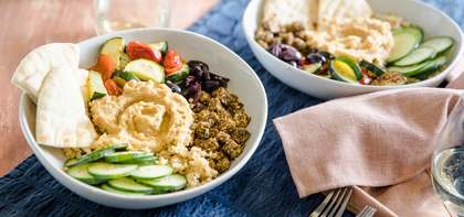 Roasted Vegetable Hummus Bowl with Za'atar Tofu & Freekeh