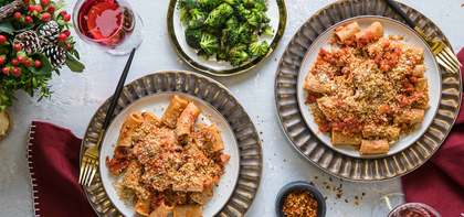 Rigatoni Arrabiata with Roasted Broccoli & Oregano Bread Crumbs