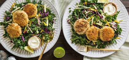 Cajun Fabcakes with Lime Aioli & Kale-Apple Slaw