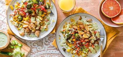 Tofu Scramble with Crispy Red Bliss Potatoes & Tomatillo Hot Sauce
