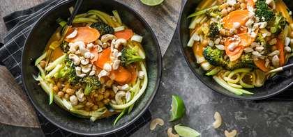 Thai Chickpea Curry with Cashews & Zucchini Noodles