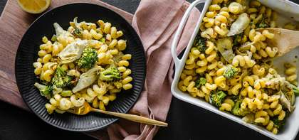 Baked Artichoke Cavatappi with Melted Leeks & Roasted Broccoli