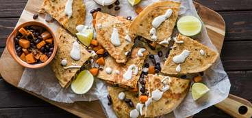 Sweet Potato & Black Bean Quesadillas with Cumin Sour Cream