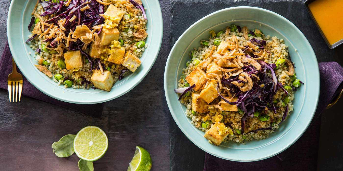 Yellow Curry Tofu Bowls with Cilantro Lime Quinoa & Edamame