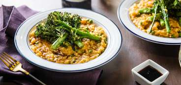 Creamy Pumpkin Rice Bowl with Roasted Broccolini & Balsamic Glaze