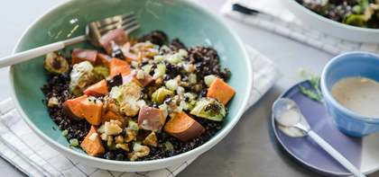 Winter Vegetable Grain Bowl with Currant Walnut Relish & Dill Tahini