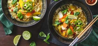 Vietnamese Style Ramen with Bok Choy & Rainbow Carrots