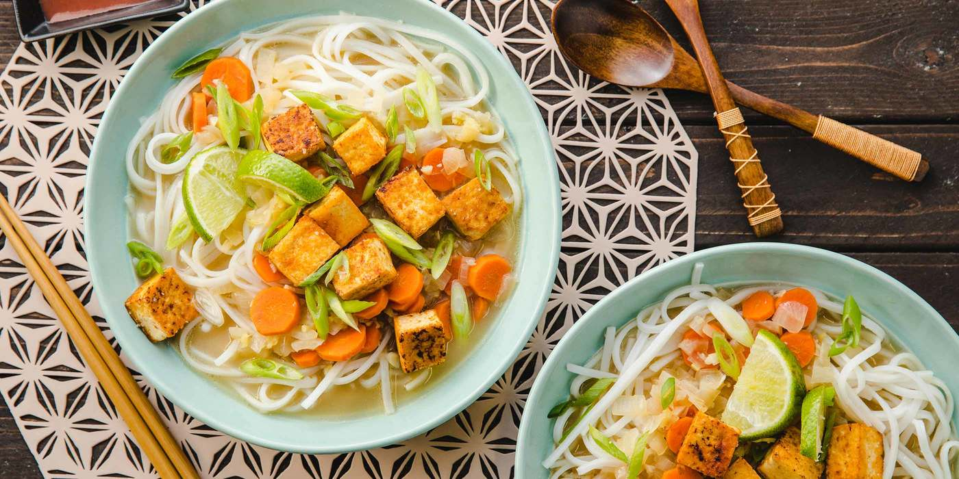 Ginger Lemongrass Noodles with Coconut Broth & Sriracha Tofu