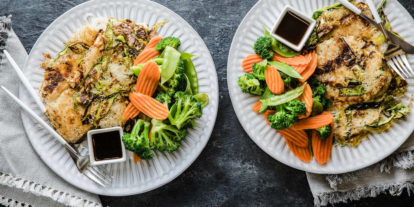 Scallion Noodle Cakes with Steamed Vegetables & Tamarind Sauce