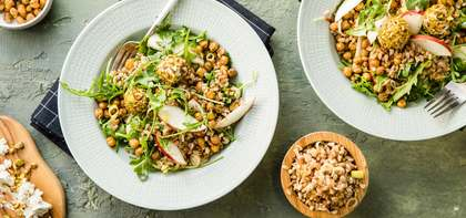 Ancient Grain Bowl with Crispy Chickpeas & Pistachio Cashew Cheese