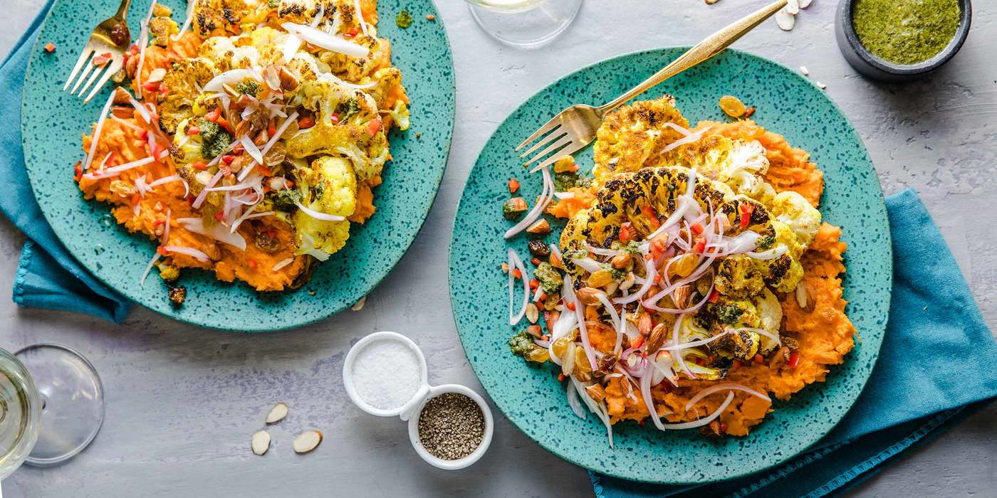 Curried Cauliflower Steaks with Mashed Yams & Cilantro Chutney