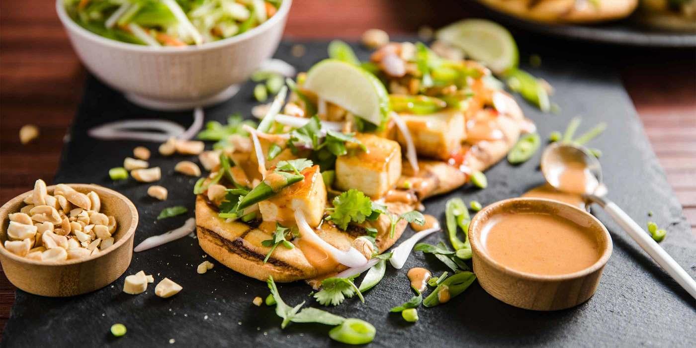 Thai-Style Flatbread with Sweet Chile Tofu & Peanut Sauce