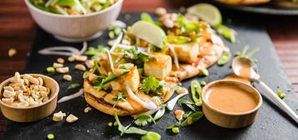 Thai-Style Flatbread with Sweet Chile Tofu & Peanut Sauce