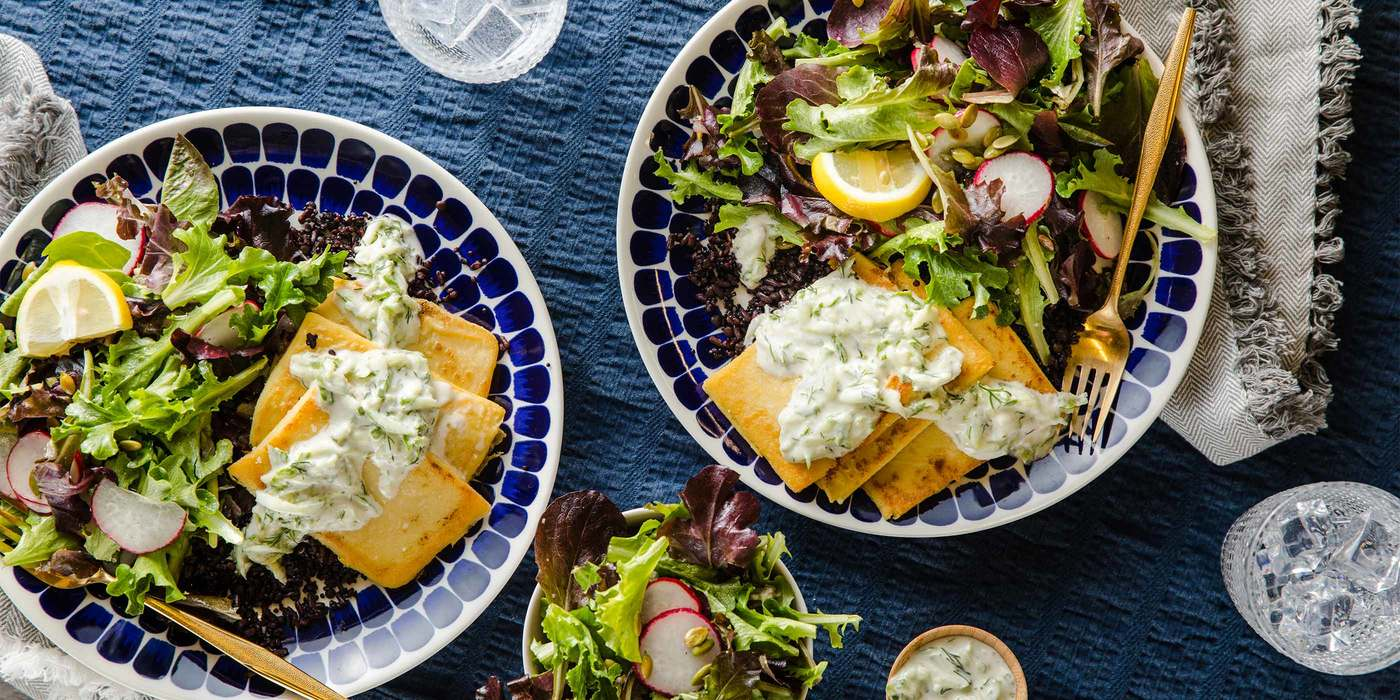Chickpea Fritters with Tzatziki Sauce & Green Salad