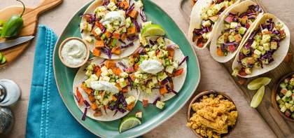 Sweet Potato Tacos with Jalapeno Apple Salsa & Refried Red Lentils