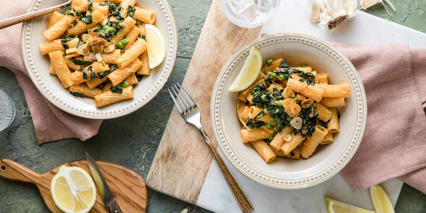 Red Pepper Rigatoni with Greens & Garlic Chips