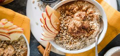 Apple Cinnamon Overnight Oats with Almond Butter & Sunflower Seeds