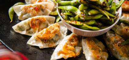 Chinese New Year Dumplings with Edamame & Chile Garlic Sauce