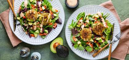Avocado Chickpea Burgers with Chipotle Mayo & Green Salad