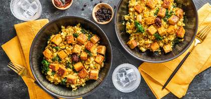 Spiced Cauliflower Couscous with Crispy Tempeh & Currants