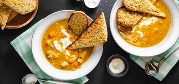 Winter Chowder with Root Vegetables & Garlic Toasts