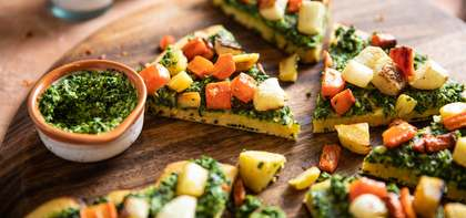 Socca Pizza with Kale Pesto & Roasted Root Vegetables