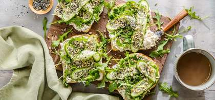 Everything Toast with Scallion Cashew Cheese & Baby Arugula