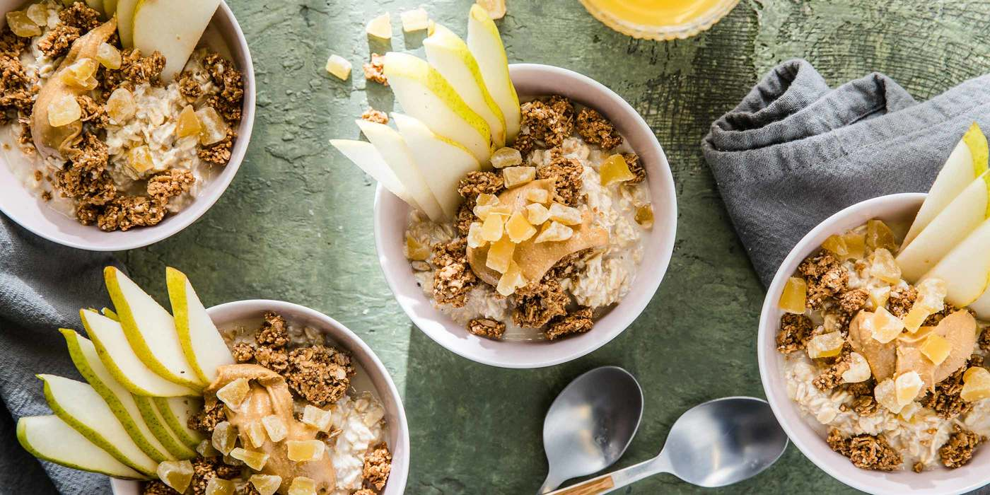 Maple Ginger Overnight Oats with Pear & Ancient Grain Granola