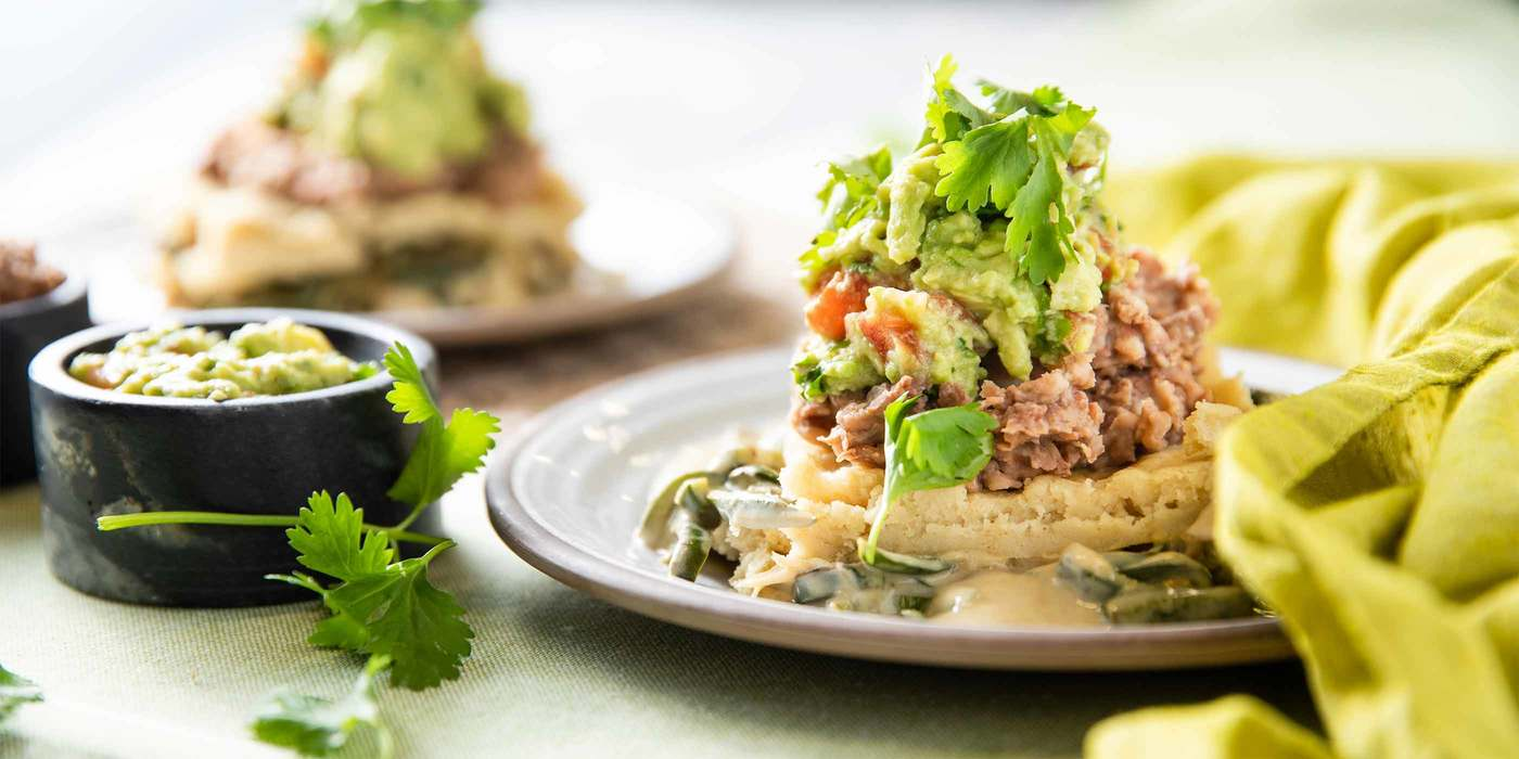 Poblano Tamale Pie with Pinto Beans & Guacamole