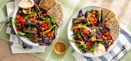 Greek Mezze Bowl with Stuffed Grape Leaves & Whole Wheat Pita