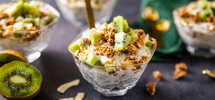 Overnight Kiwi Chia Parfaits with Toasted Coconut & Himalayan Salt