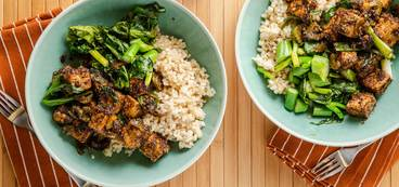 Black Pepper Tofu with Chinese Broccoli & Brown Rice