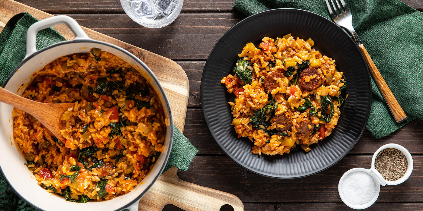 Chipotle Sausage Jambalaya with Kale & Long Grain Rice