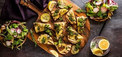 Rosemary Potato Flatbread with White Bean Puree & Charred Broccoli
