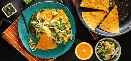 Moroccan Carrot Pancake with Citrus Salad & Cilantro Chutney