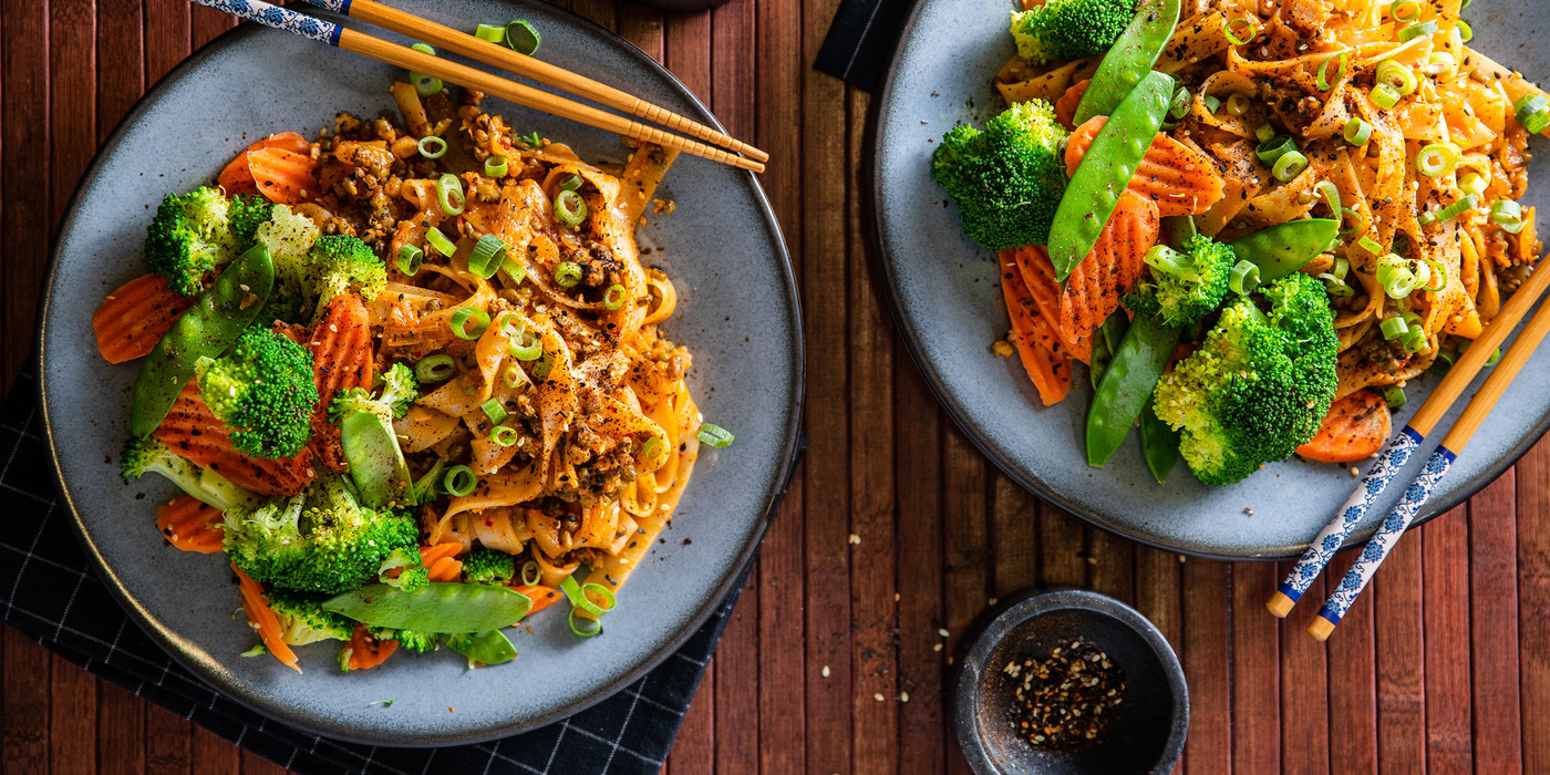 Korean Noodles with Kimchi Butter & Steamed Vegetables