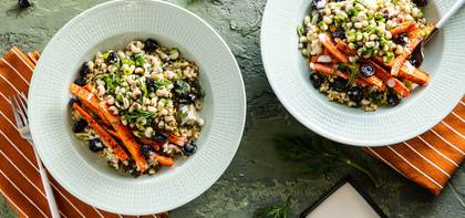 Grape Leaf Pilaf with Black-Eyed Peas & Sumac Roasted Carrots