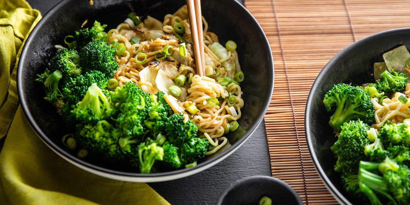 Chinese Longevity Noodles with Cabbage & Steamed Broccoli