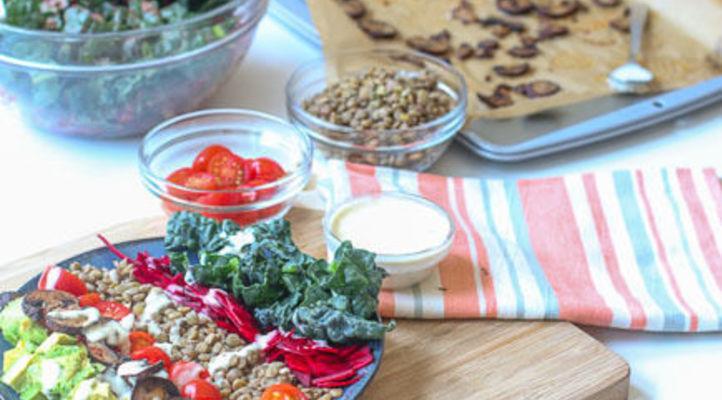 Bright Spring Salad with Lentils & Mushroom Bacon