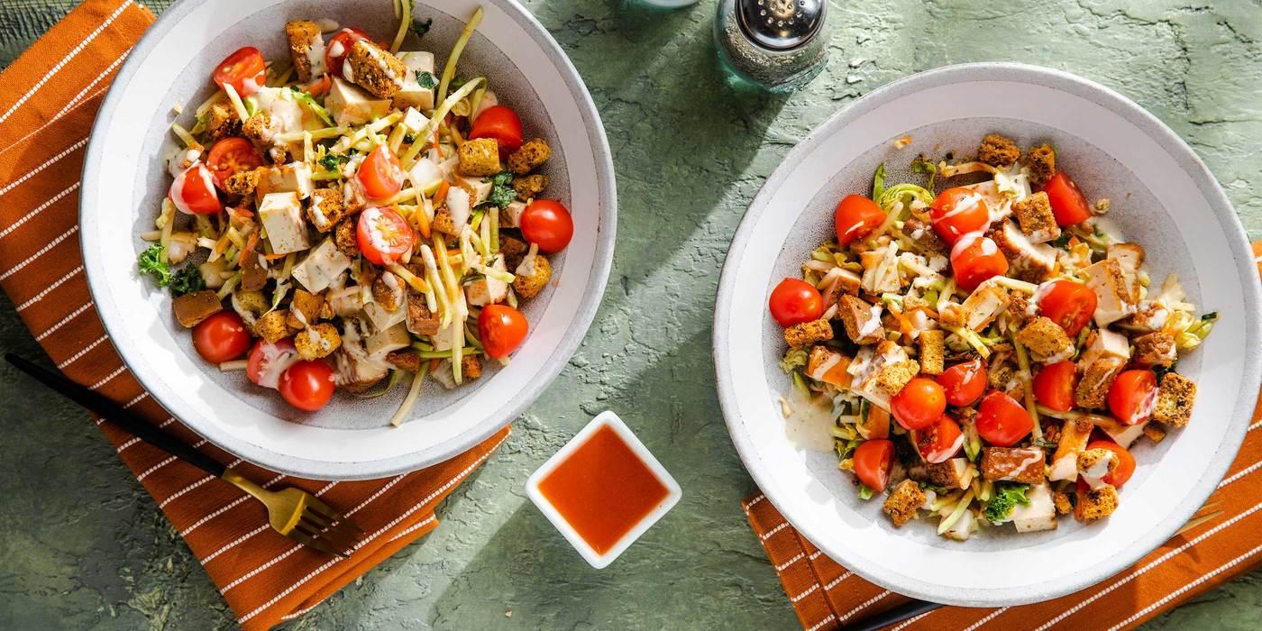 Buffalo Tofu Salad with Grape Tomatoes & Ranch Dressing