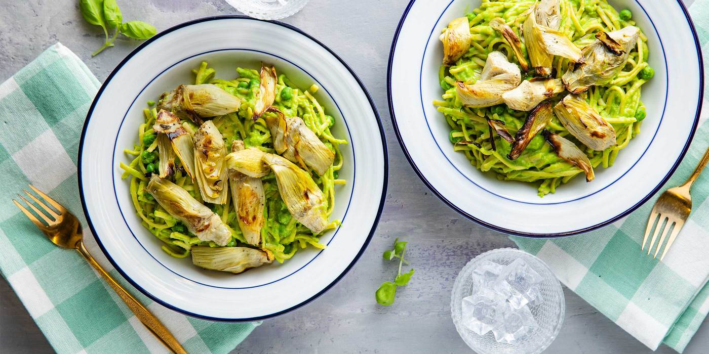 Sweet Pea Linguine Alfredo with Artichokes & Truffle Oil