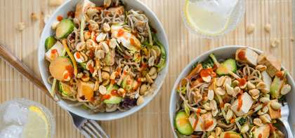 Thai Vegetable Peanut Noodles with Baked Tofu & Cucumber