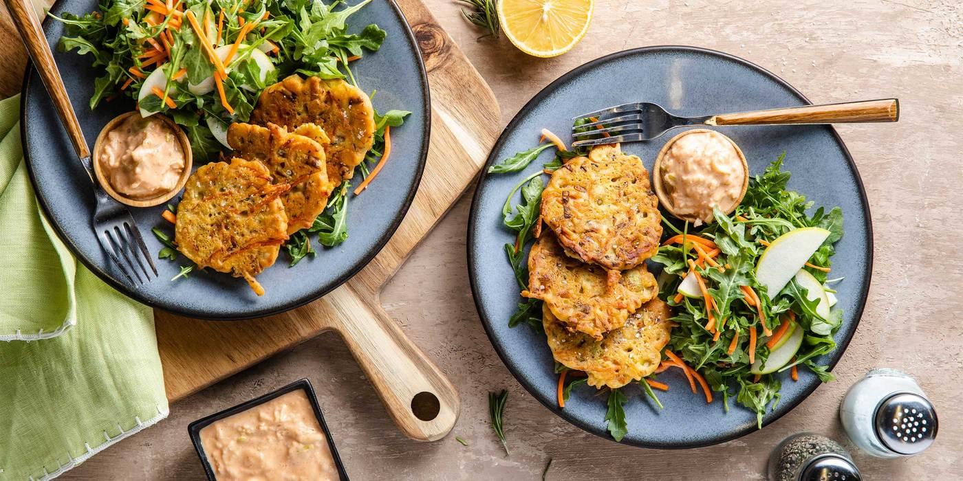 Rosemary Leek Fritters with Arugula Salad & Apple Miso Mayo