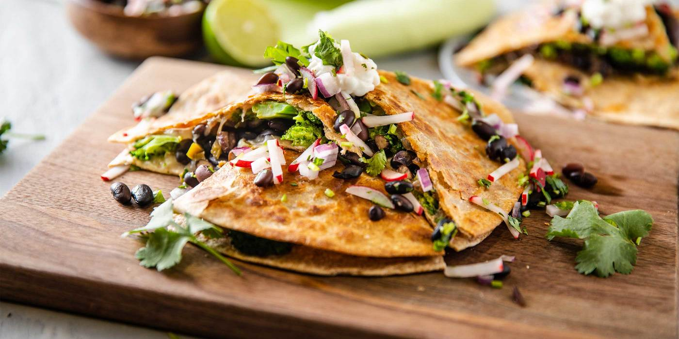 Nacho Broccoli & Black Bean Quesadilla with Radish Pico de Gallo