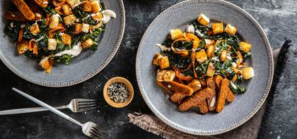 Kale Caesar with Tempeh Bacon & Everything Bagel Croutons