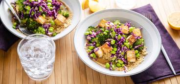 Tahini Bulgur Bowl with Charred Broccoli & Crispy Tofu