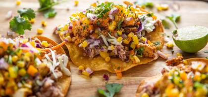 Roasted Tofu Tostadas with Rainbow Salsa & Refried Beans
