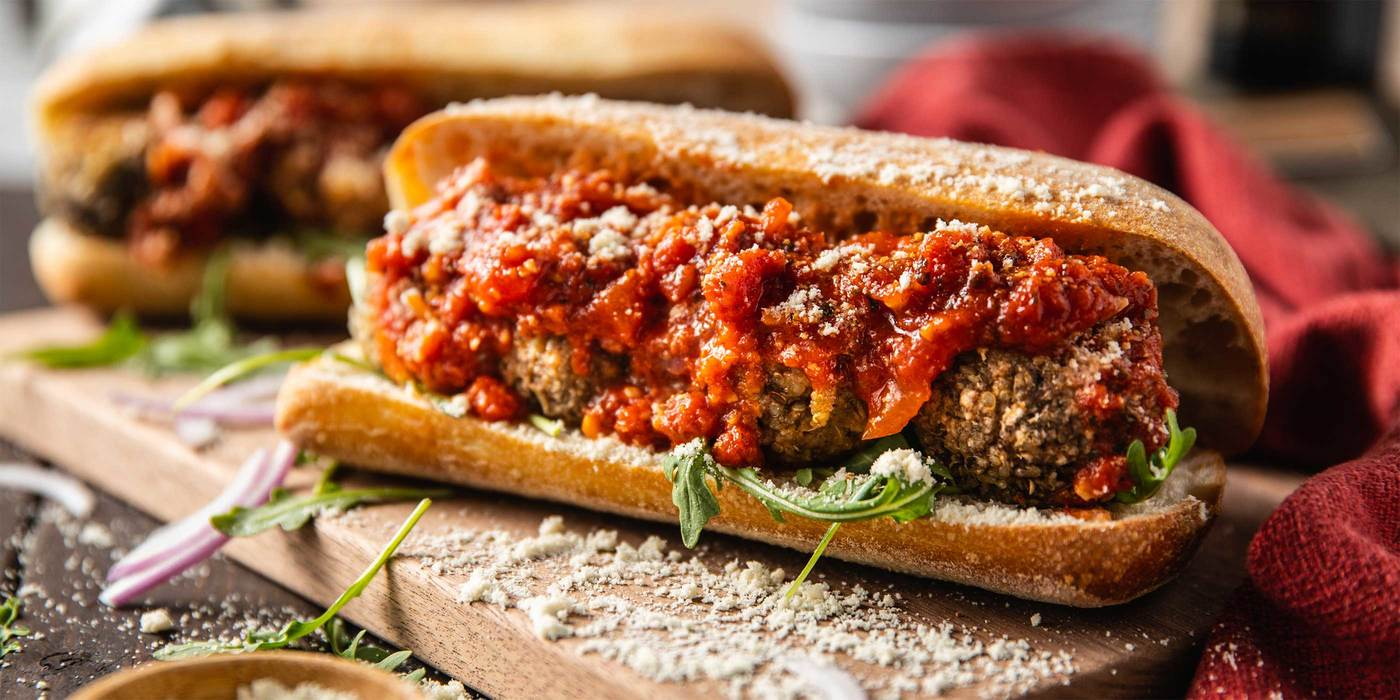 "Cannellini & Mushroom ""Meatball"" Subs with Classic Red Sauce"