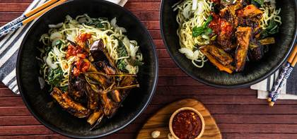 Pan Roasted Eggplant with Chile Peanut Sauce & Fresh Noodles