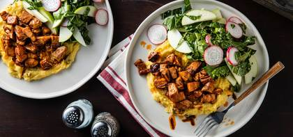 BBQ Jackfruit with Green Chile Polenta & Collard Apple Slaw